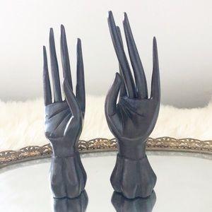 Vintage Wooden Hand Sculpture Set Eclectic Boho